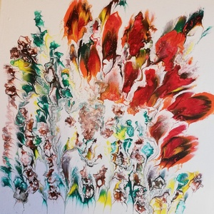 Ősz/Virág/Festmény/Akril, Akril, Festmény, Művészet, Festészet, Az ősz színeivel készült akrilkép, 30x30 cm, feszített vászon, fényes felület, kétszer lakkozva...., Meska