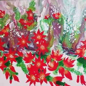 Kaktusz/Akrilfestmény, Otthon & Lakás, Dekoráció, Festészet,  Pirosan virágzó kaktusz. Vegyes technikával (fluid art, és ecsettel) készült festmény. Vidám hangul..., Meska
