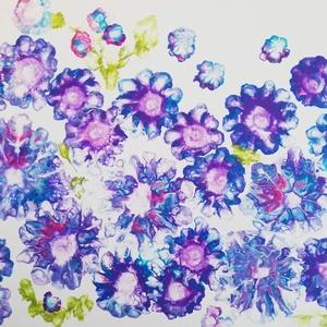 Tavasz/Festmény/Fluid art, Művészet, Festmény, Akril, Festészet, Akrilfolyatásos technikával készült, világos, vidám színekkel megfestett 50x40 cm-es kép feszített v..., Meska