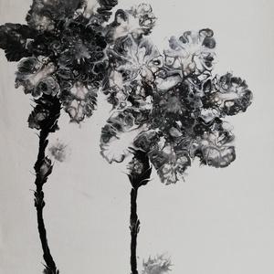 Fekete/Festmény/Fluid art, Művészet, Festmény, Akril, Festészet, Akrilfolyatásos technikával készült, légies, lyukacsos mintázatot adó festmény fehér alapon fekete f..., Meska