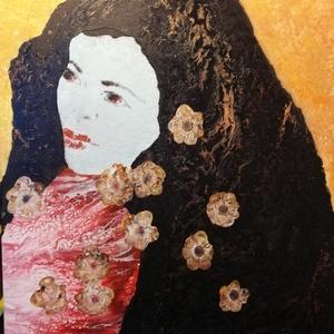Akrilfestmény/Lány virággal, Művészet, Festmény, Akril, Festészet, Vegyes technikával( fluid art, illetve ecsetes akrilfestés) készített 40x60 cm-es kép feszített vász..., Meska