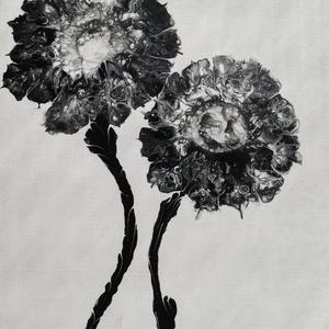 Virágok feketével/Fluid art/Festmény, Művészet, Festmény, Akril, Festészet, Virágszálak fluid art technikával, fekete festékkel festve 24x30 cm-es feszített vásznon. Tekintsd m..., Meska