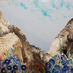 Akrilfestmény /Fluid art / Encián, Művészet, Festmény, Akril, Festészet, Absztrakt akrilfestmény: táj, szikla, kék virágok. Festékfolyatásos technikával, 50x40-es feszített ..., Meska