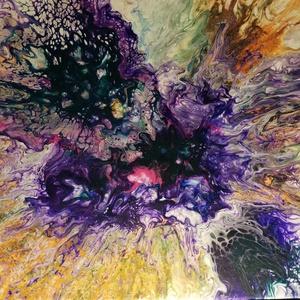 Absztrakt virág/Akrilfestmény, Akril, Festmény, Művészet, Festészet, Markáns színekből összeállított nagy virágfej. A kép részleteiben különleges, kihálósodó festékhatás..., Meska