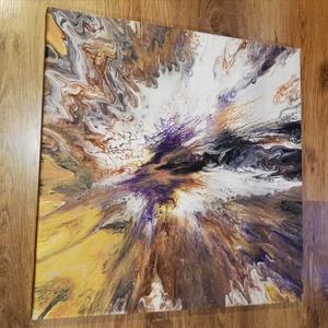 Meteor/Festmény/Akril, Otthon & Lakás, Dekoráció, Falra akasztható dekor, Festészet, Fluid art technikával készült festmény. Dinamikus, izgalmas hatású keveredése a színeknek és a mintá..., Meska