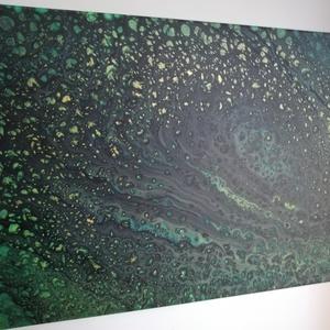 Festmény/Akril/Smaragd éjszaka, Művészet, Festmény, Akril, Festészet, Zöld és fekete alapból előugró aranyszínű csillagok. 30x40 cm-es feszített vászonkép. Világos háttér..., Meska