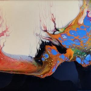 Lávató/Akrilfestmény/Fluid-art, Művészet, Festmény, Akril, Festészet, A forró láva színeit felvonultató, füstölgő festékfolyam. Sosem lesz még egy ilyen! :)\n30x24 cm, fes..., Meska