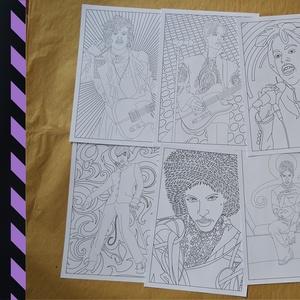 Prince Colour Cult 8xA/3, Dekoráció, Otthon & lakás, Kép, Játék, Gyerek & játék, Készségfejlesztő játék, Papírművészet, 8 db A/3 méretű kifestő, mely Prince  különböző ikonikus korszakait eleveníti fel. A csomag egyedi, ..., Meska
