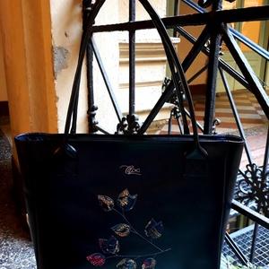 Black leaf for work - marhabőr shopper, Táska & Tok, Kézitáska & válltáska, Nagy pakolós táska, Bőrművesség, Varrás, Hatalmas pakolós táska erős marhabőrből. Pakolhatod, hordozhatod. :) Minden belefér, ami csak kellhe..., Meska