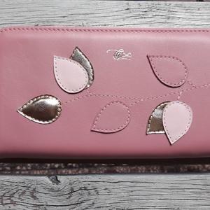 Vintage pink - gold  - valódi bőr tárca, Táska & Tok, Pénztárca & Más tok, Pénztárca, Design:   Klasszikus fazonban is elérhető a tárcám nőies színekben és díszítéssel.  Nagy mérete miat..., Meska