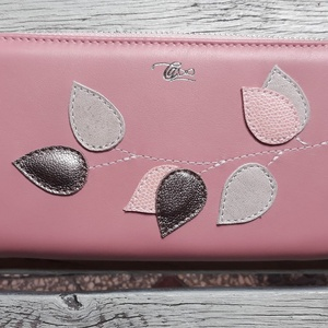 Vintage pink - bronze  - valódi bőr tárca, Táska & Tok, Pénztárca & Más tok, Pénztárca, Bőrművesség, Varrás, Design: \n\nKlasszikus fazonban is elérhető a tárcám nőies színekben és díszítéssel.\n\nNagy mérete miat..., Meska