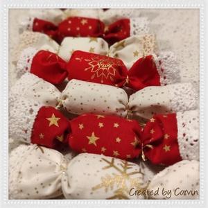 Textil szaloncukor, Karácsonyfadísz, Karácsony & Mikulás, Otthon & Lakás, Varrás, Eladók a képeken látható (általad választott mintájú) szaloncukrok, darabja 199ft\n\nMinimum rendelhet..., Meska