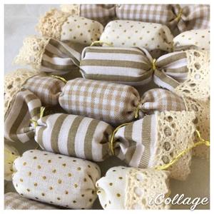 ELŐRENDELÉSI AKCIÓ - 10db-os textil szaloncukor csomag, Karácsony, Karácsonyi lakásdekoráció, Karácsonyfadíszek, Varrás, Meska