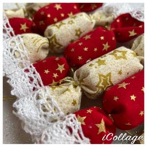 ELŐRENDELÉSI AKCIÓ - 30db-os textil szaloncukor csomag, Karácsony, Karácsonyi lakásdekoráció, Karácsonyfadíszek, Varrás, Meska