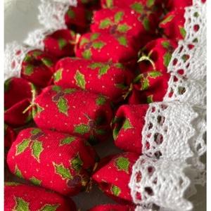 ELŐRENDELÉSI AKCIÓ - 10db-os textil szaloncukor csomag, Karácsony, Karácsonyi lakásdekoráció, Varrás, Meska