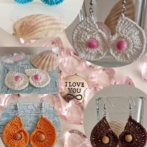 SEASHELL fülbevalók, Ékszer, Fülbevaló, Ékszerkészítés, Horgolás, Irány a tengerpart! Dobd fel öltözéked ezekkel a mesés SeaShell fülbevalókkal! Többféle színben! ..., Meska
