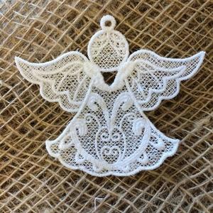 2db Csipkeangyal-P21 (2db/csomag), Otthon & lakás, Dekoráció, Ünnepi dekoráció, Karácsony, Karácsonyi dekoráció, Csipkekészítés, Hímzés, Összeválogathatsz különbözőeket is!\n\nA csipkéimhez egy speciális-zselatin lapra emlékeztető- anyagot..., Meska