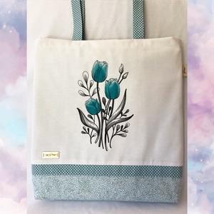 Kék tulipános - Vászon táska, Táska & Tok, Hímzés, Varrás, Vászon táska, bevásárló táska, shopper. Vagy ennél is több. Stílus és egyéniség. Vidám, színes, imád..., Meska