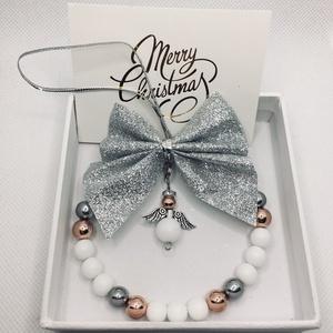 Angyali üdvözlet- karácsonyfa dísz, ajtódísz, kopogtató, Otthon & Lakás, Dekoráció, Ajtódísz & Kopogtató, Gyöngyfűzés, gyöngyhímzés, Itt a karácsony és még nincs ötleted, de egy olyan ajándékot szeretnél, ami szép, egyedi,  de egyben..., Meska
