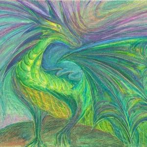 Smaragd sárkány, Művészet, Festmény, Pasztell, Festészet, Fotó, grafika, rajz, illusztráció, Olajpasztell grafikámról készült, giclée művészi nyomat, az eredeti pontos reprodukciója - a zöld sz..., Meska