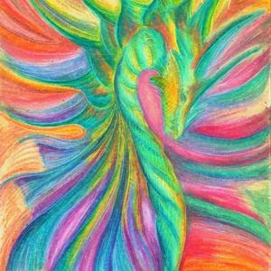 Levegő-sárkány, Művészet, Festmény, Pasztell, Festészet, Fotó, grafika, rajz, illusztráció, 30% tavaszváró AKCIÓ! (A feltüntetett ár már az akciós ár! ) Olajpasztell festményemről matt savment..., Meska