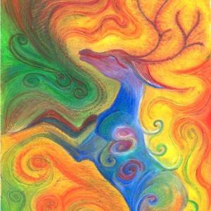 Csodaszarvas, Művészet, Festmény, Pasztell, Festészet, Fotó, grafika, rajz, illusztráció, Olajpasztell grafikámról készült, giclée művészi nyomat, az eredeti pontos reprodukciója - a színek ..., Meska