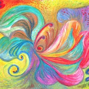 Szirmok, Művészet, Festmény, Pasztell, Fotó, grafika, rajz, illusztráció, Olajpasztell festményemről készült művészi nyomat., Meska