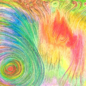 Színörvény 2, Művészet, Festmény, Olajfestmény, Festészet, Fotó, grafika, rajz, illusztráció, Olajpasztell grafikámról készült, giclée művészi nyomat - az élénk színek rajongóinak. Illusztráción..., Meska