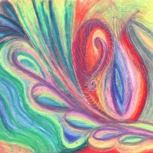 Mandulaszív, Művészet, Festmény, Pasztell, Festészet, Fotó, grafika, rajz, illusztráció, Olajpasztell grafikámról készült, giclée művészi nyomat - az élénk színek rajongóinak. Illusztráción..., Meska