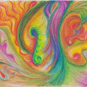 Színcseppek, Művészet, Festmény, Pasztell, Festészet, Fotó, grafika, rajz, illusztráció, Olajpasztell grafikámról készült, giclée művészi nyomat - az élénk színek rajongóinak. Illusztráción..., Meska