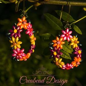 Creabead Design színes tavaszi virágkoszorú fülbevaló, Ékszer, Fülbevaló, Lógós fülbevaló, Gyöngyfűzés, gyöngyhímzés, Creabead Design színes tavaszi virágkoszorú fülbevaló cseh és japán magas minőségű design gyöngy ala..., Meska