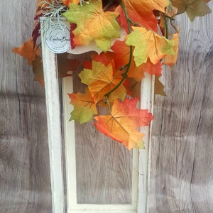 Fa lámpás őszi dekorációval, Fali & Mennyezeti lámpa, Lámpa, Otthon & Lakás, Virágkötés, Ez a dekoráció remek kiegészítője lehet otthonunknak. Egyedi lézervágott fa lámpást készítettem alap..., Meska