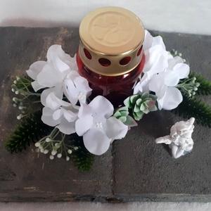 Kegyeleti dekoráció könyv alapon, Otthon & Lakás, Spiritualitás & Vallás, Temetkezési tárgy, Virágkötés, Ezt a dekorációt egy könyvre készítettem, amit bevontam kőpasztával, majd mécsessel, selyemvirággal ..., Meska