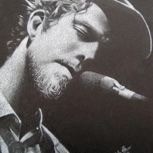 """Tom Waits portré - A4 méretű, fehér ceruzával készült grafika, Portré, Portré & Karikatúra, Művészet, Fotó, grafika, rajz, illusztráció, A4 méretű, fehér ceruzával fekete kartonre készült rajz.\nA grafika \""""falrakész\"""",  az ár a képkerettel..., Meska"""