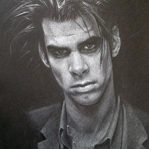 Nick Cave portré - A4 méretű ceruzarajz, Művészet, Grafika & Illusztráció, Fotó, grafika, rajz, illusztráció, Nick Cave rajongók figyelem!\nEz az A4 méretű grafika stílusos és menő dísze lehet minden rajongó ott..., Meska