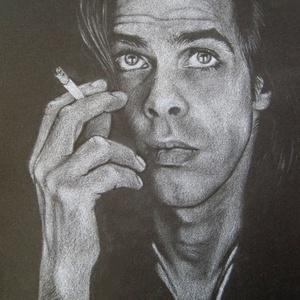 """Nick Cave portré - A4 méretű, ceruzával készült grafika, Otthon & lakás, Képzőművészet, Grafika, Rajz, Lakberendezés, Falikép, Dekoráció, Fotó, grafika, rajz, illusztráció, Méret: A4\nTechnika: ceruza rajz\nA grafika \""""falrakész\"""",  az ár képkerettel együtt értendő. \n\nPostázás..., Meska"""