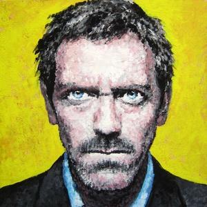 Dr. House portré - Mini festmény, Akril, Festmény, Művészet, Festészet, Dr. House, azaz Hugh Laurie, brit színész portréja akrillal megfestve, nem csak rajongóknak.\nA kép r..., Meska