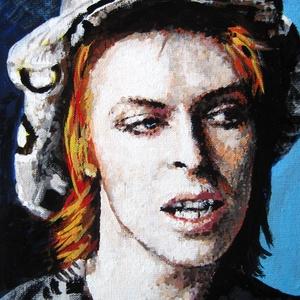 David Bowie - Mini festmény, Akril, Festmény, Művészet, Festészet, Ezt a fiatal David Bowie-t ábrázoló, kis méretű, akrilfestményt elsősorban Bowie rajongóknak ajánlom..., Meska