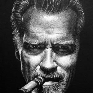 Arnold Schwarzenegger - A4 méretű akril festmény, Művészet, Festmény, Akril, Festészet, Ezt az A4 méretű fekete-fehér akrilfestményt elsősorban Arnold Schwarzenegger és Terminátor rajongók..., Meska
