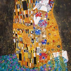 A Csók - A3 méretű akril festmény Gustav Klimt A Csók című képe nyomán, Művészet, Festmény, Akril, Festészet, Gustav Klimt rajongók, figyelem! \nHa nem sikerült megszerezned az eredetit, szerezd meg ezt!\nAjándék..., Meska