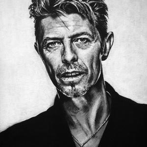 David Bowie - festmény, fekete-fehér, akril, farost 30x40 cm, Művészet, Festmény, Akril, Festészet, Zene rajongók, figyelem! \nEz a David Bowiet ábrázló, fekete-fehér festmény igazán stílusos dísze leh..., Meska