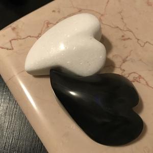 Black and White Marble Heart  - Meska.hu