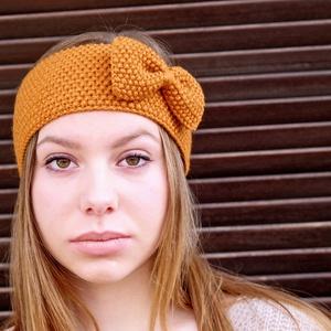 Lányos Őszi Kézzel kötött mustár sárga fejpánt, hajpánt, masnis fülvédő - Meska.hu