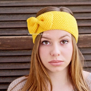 Kézzel kötött, citrom sárga fejpánt, tavaszi divatos fejpánt, Női hajpánt, Lányos masnis fülvédő, Ruha & Divat, Hajdísz & Hajcsat, Hajráf & Hajpánt, Kötés, Meska