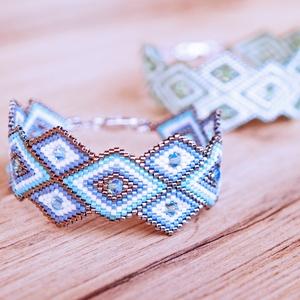 Rhombus Shine - Peyote karkötő - Denim Blue - Meska.hu