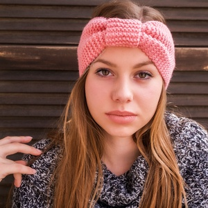 Kézzel kötött baba-rózsaszín, divatos fejpánt, hajpánt, turbán fülvédő, fülmelegítő - Meska.hu