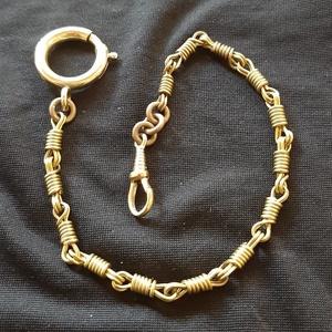 """Zsebóralánc \""""csavart\"""", sárgarézből , Zsebóra, Karóra és Ékszeróra, Ékszer, Ötvös, Saját zsebóralánc gyűjteményem alapján készítettem el a láncot. A rugós gyűrűt és a karabinert is ha..., Meska"""