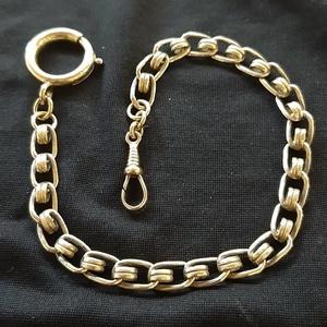 """Zsebóralánc \""""dupla szemű\"""", sárgarézből , Zsebóra, Karóra és Ékszeróra, Ékszer, Ötvös, Saját zsebóralánc gyűjteményem alapján készítettem el a láncot. A rugós gyűrűt és a karabinert is ha..., Meska"""