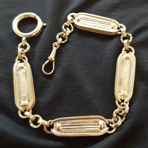 """Zsebóralánc \""""sodrott\"""" nagy, sárgarézből , Zsebóra, Karóra és Ékszeróra, Ékszer, Ötvös, Saját zsebóralánc gyűjteményem alapján készítettem el a láncot. A rugós gyűrűt és a karabinert is ha..., Meska"""