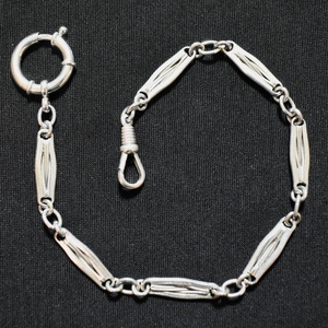"""Zsebóralánc \""""ostoros\"""" ezüstből, Zsebóra, Karóra és Ékszeróra, Ékszer, Ötvös, Saját zsebóralánc gyűjteményem alapján készítettem el a láncot. A rugós gyűrűt és a karabinert is ha..., Meska"""